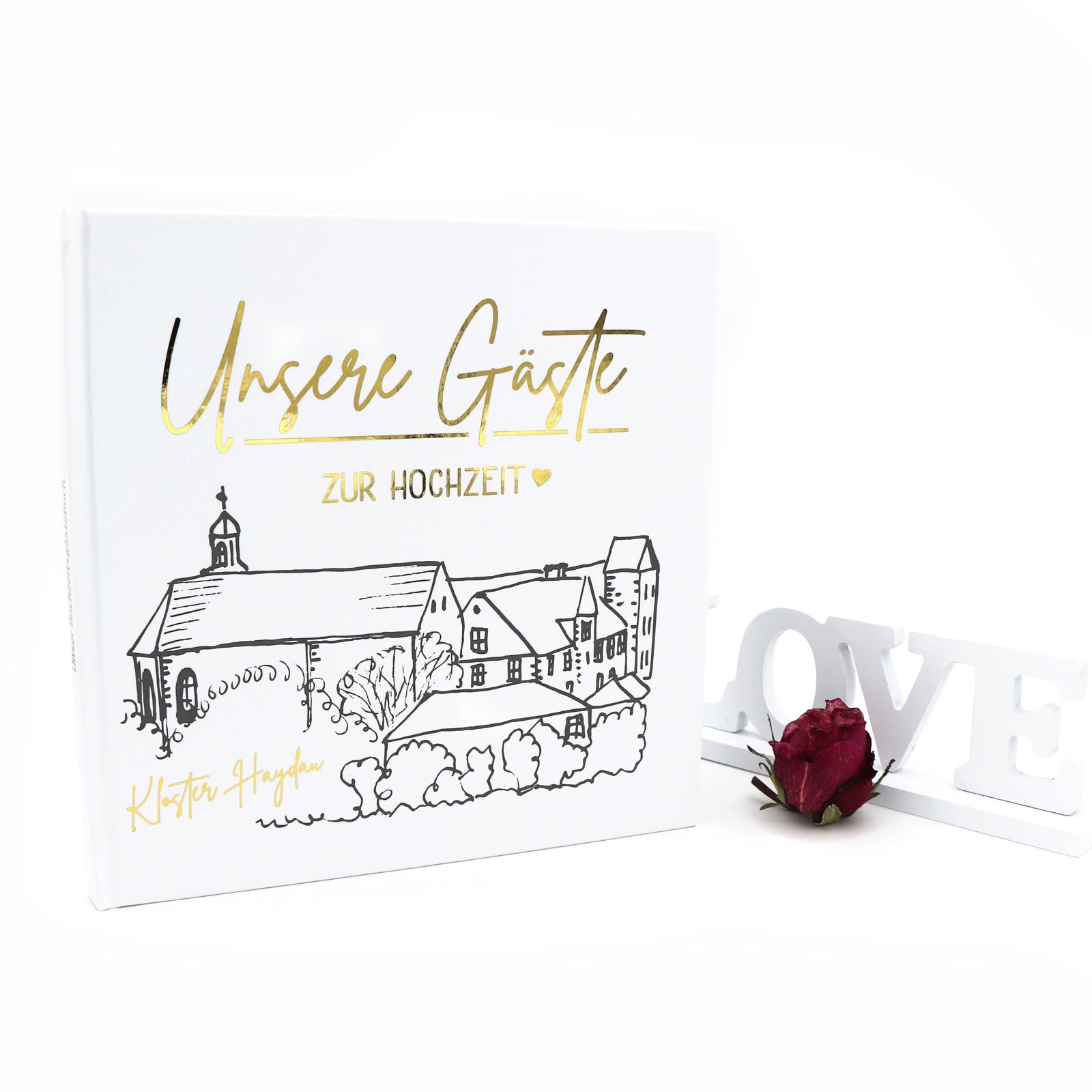 Gästebuch Hochzeit mit Fragen >Kloster Haydau Edition< - Hardcover + Fadenheftung - Gold Heissfolie