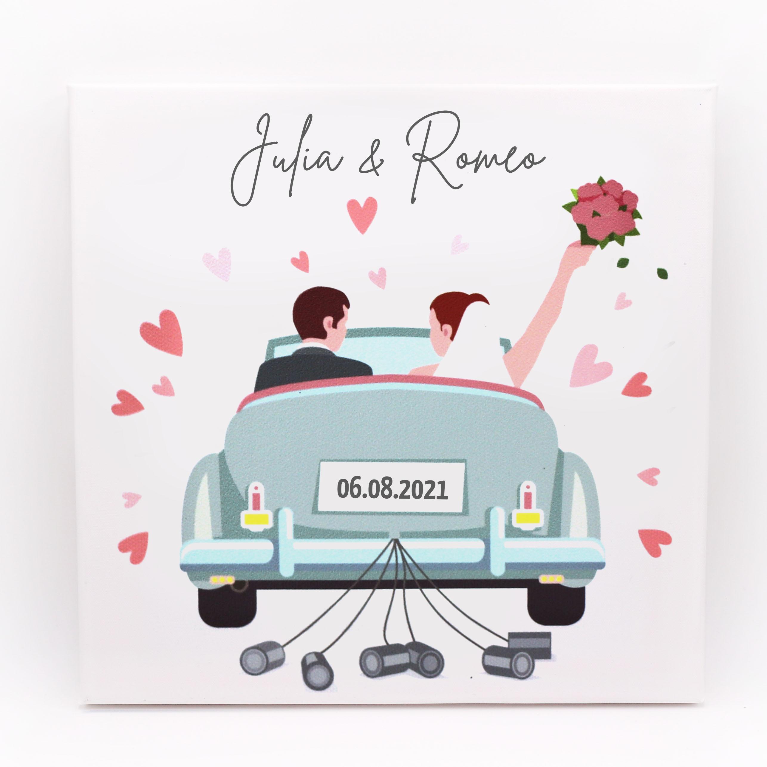 Personalisiertes Hochzeitsgeschenk - Leinwand mit Hochzeitsauto, Namen des Brautpaars und Hochzeitsdatum - geeignet als Geldgeschenk