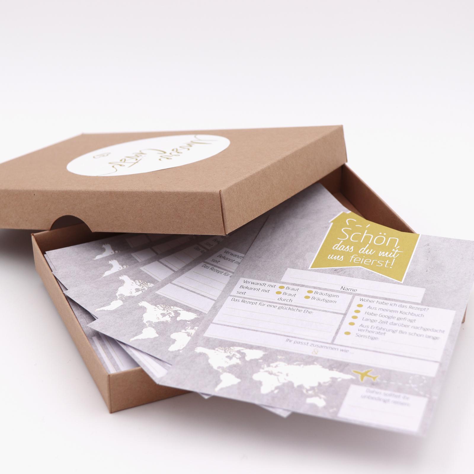 Hochzeitsspiel Postkarten mit Fragen, Ehefragen - Gästebuch Hochzeit