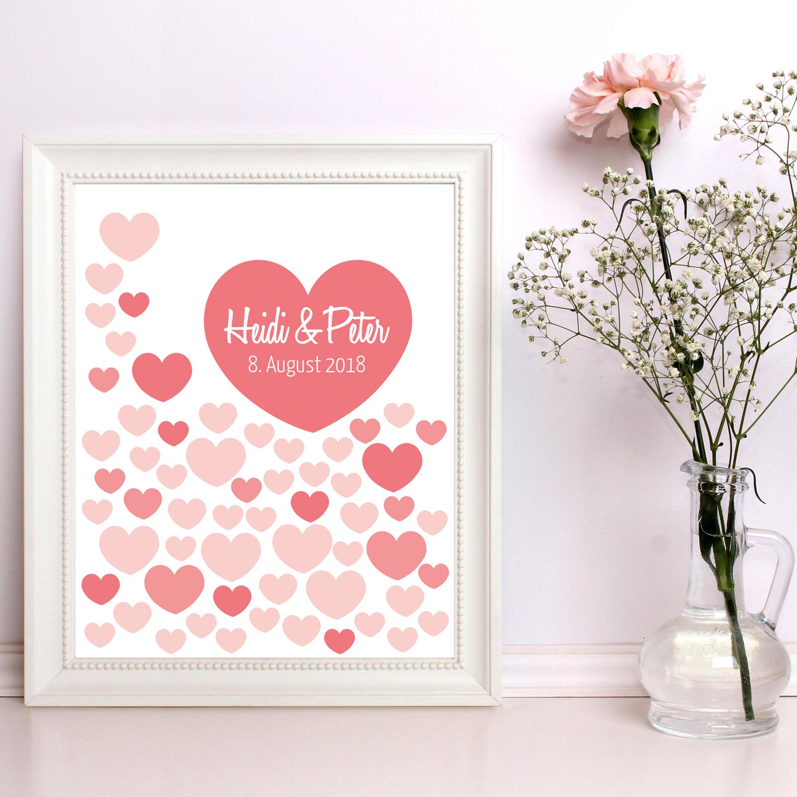 Gästebuch Hochzeit Poster 40x50cm, Rote Herzen zur Unterschrift - personalisiert