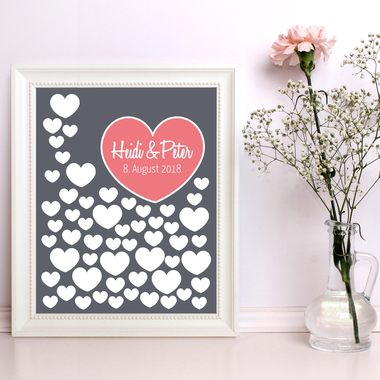 Gästebuch Hochzeit Poster 40x50cm, Graue Herzen zur Unterschrift - personalisiert