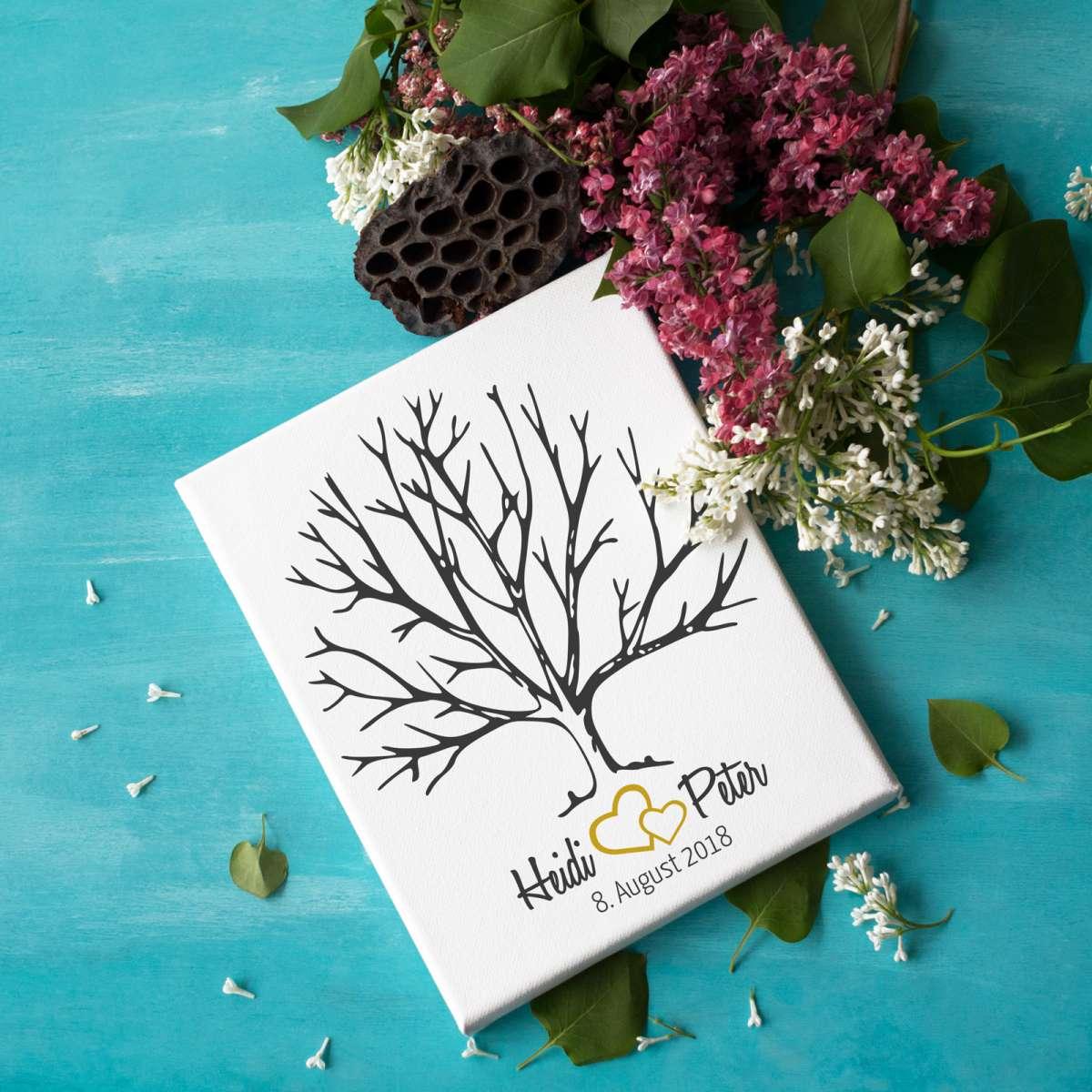 Personalisierter Hochzeitsbaum Fingerabdruck / Wedding Tree auf Leinwand - geeignet als Hochzeitsspiel oder Geschenk zur Hochzeit - Gästebuch Hochzeit