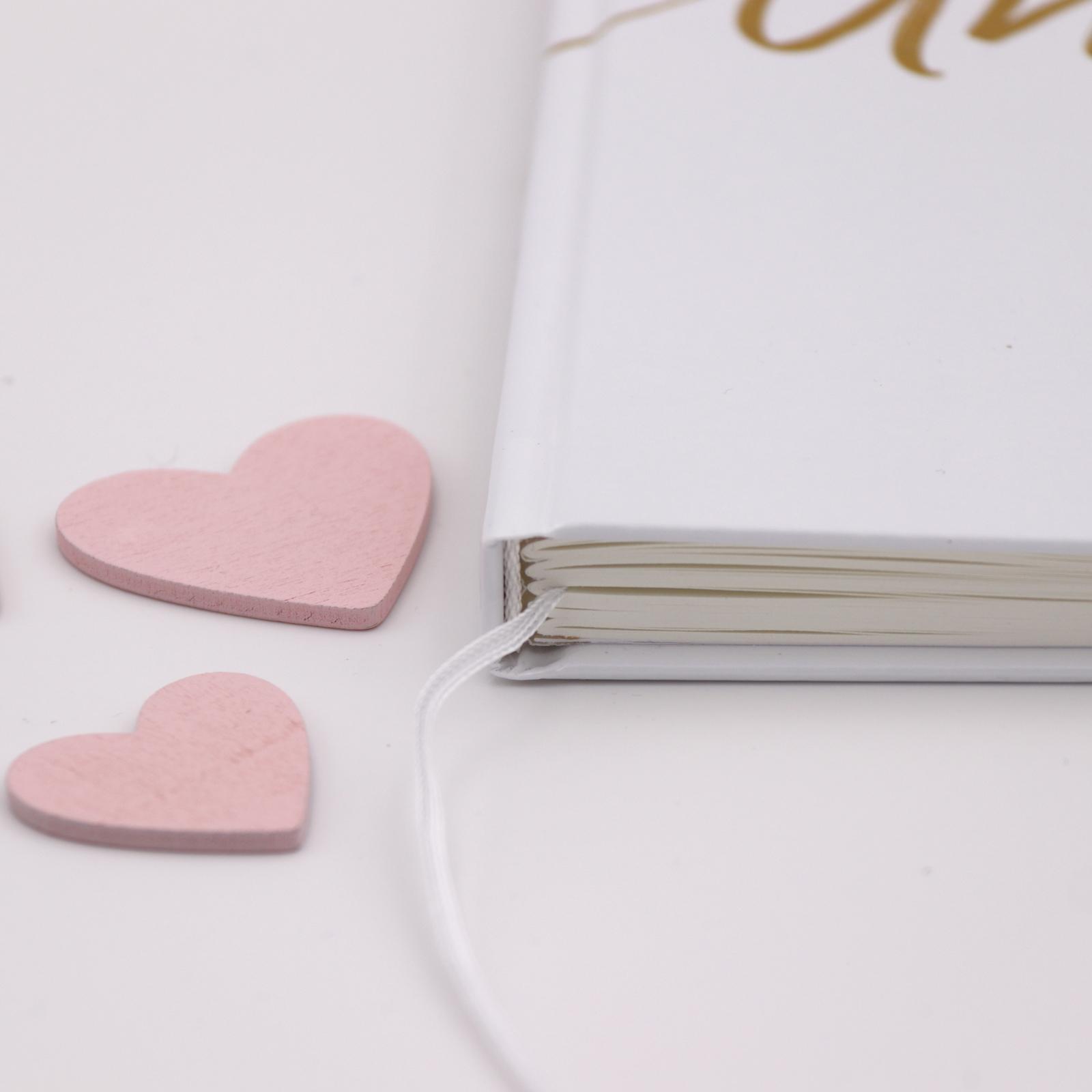 Gästebuch Hochzeit mit Fragen >Golden< - weiß - Hardcover + Fadenheftung - 120 Seiten