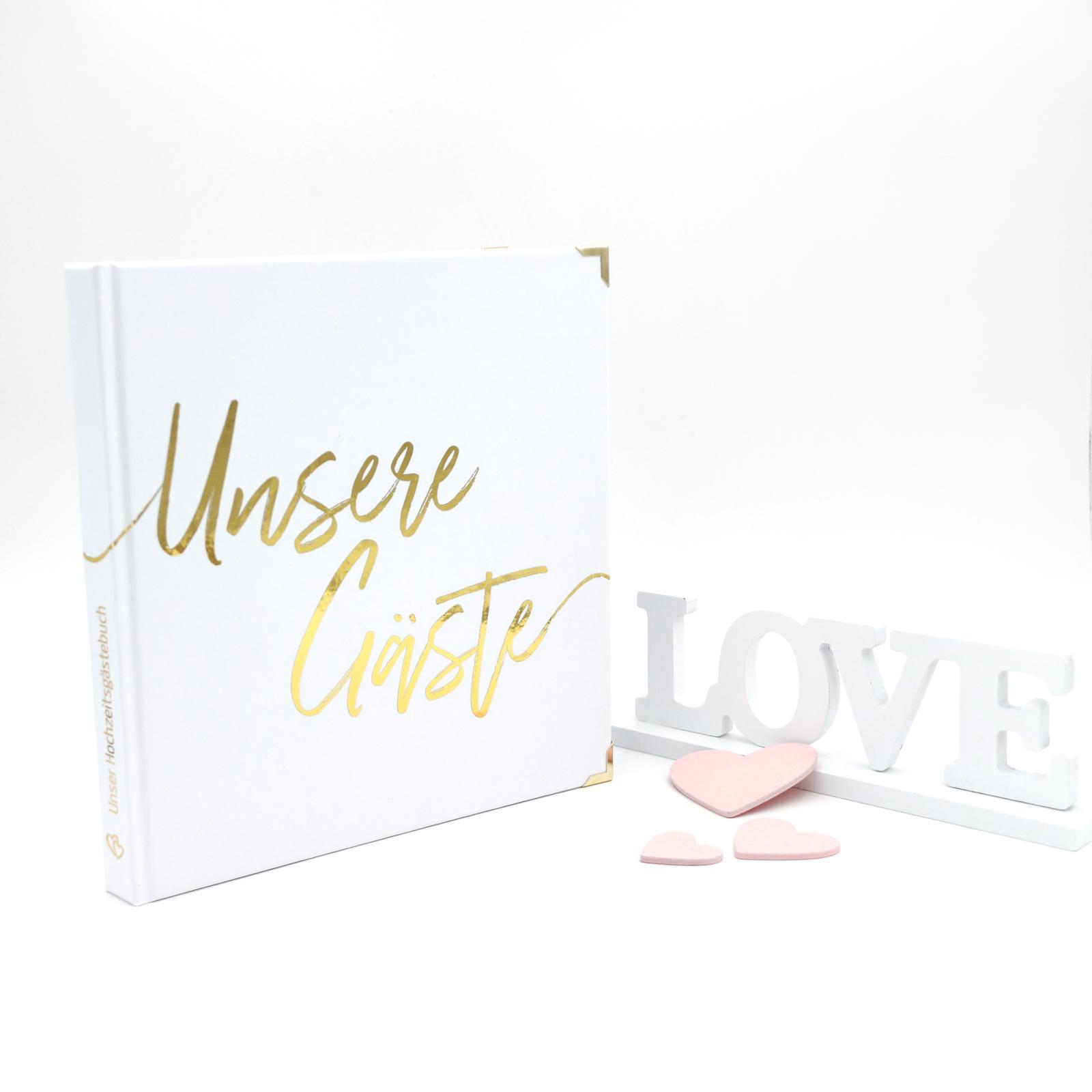Gästebuch Hochzeit mit Fragen >Gold XL< - Hardcover + Fadenheftung - Gold Heissfolie - 200 Seiten