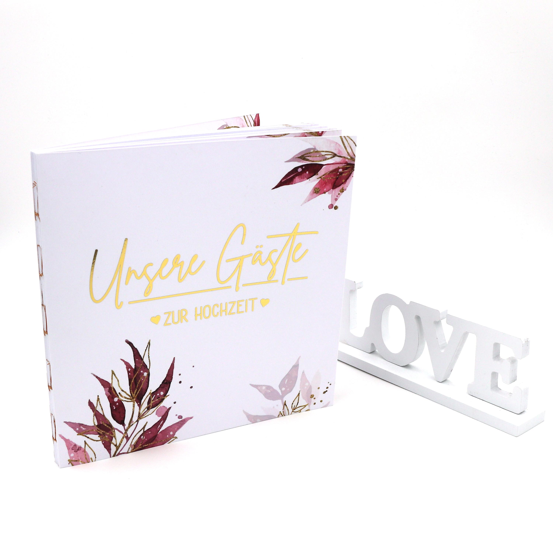 Gästebuch Hochzeit mit Fragen >Boho< - Gold Heissfolie - Softcover + Fadenheftung - 100 Seiten