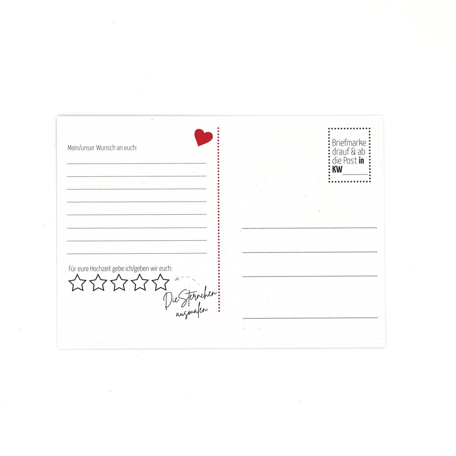 Hochzeitsspiel Postkarten Aufgaben für das erste Ehejahr