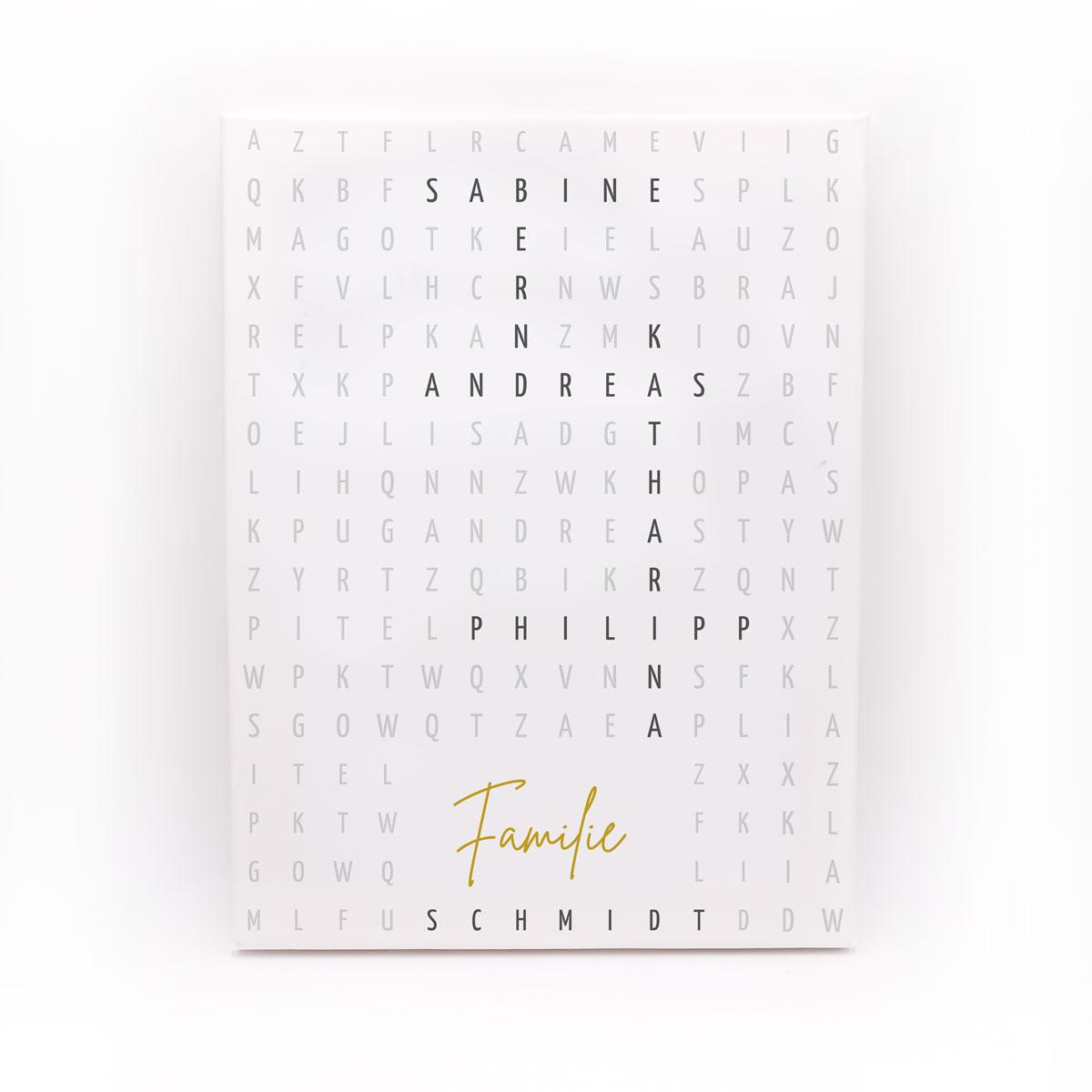 """Personalisierte Leinwand """"Kreuzworträtsel"""" mit den Namen deiner Familie - geeignet als Geburtstagsgeschenk oder Familiengeschenk"""