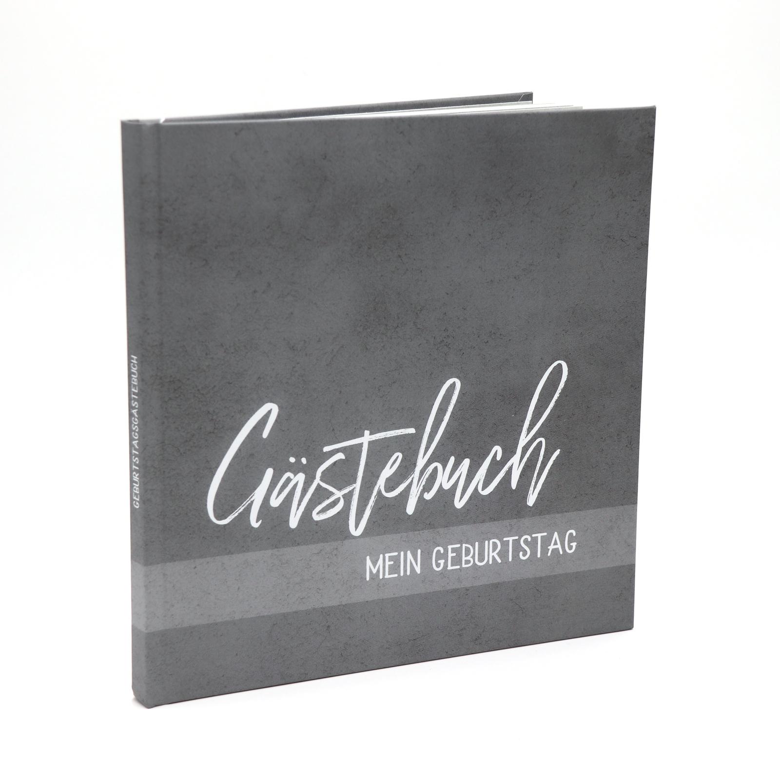 Gästebuch Geburtstag mit Fragen Hardcover + Fadenheftung - grau - 80 Seiten