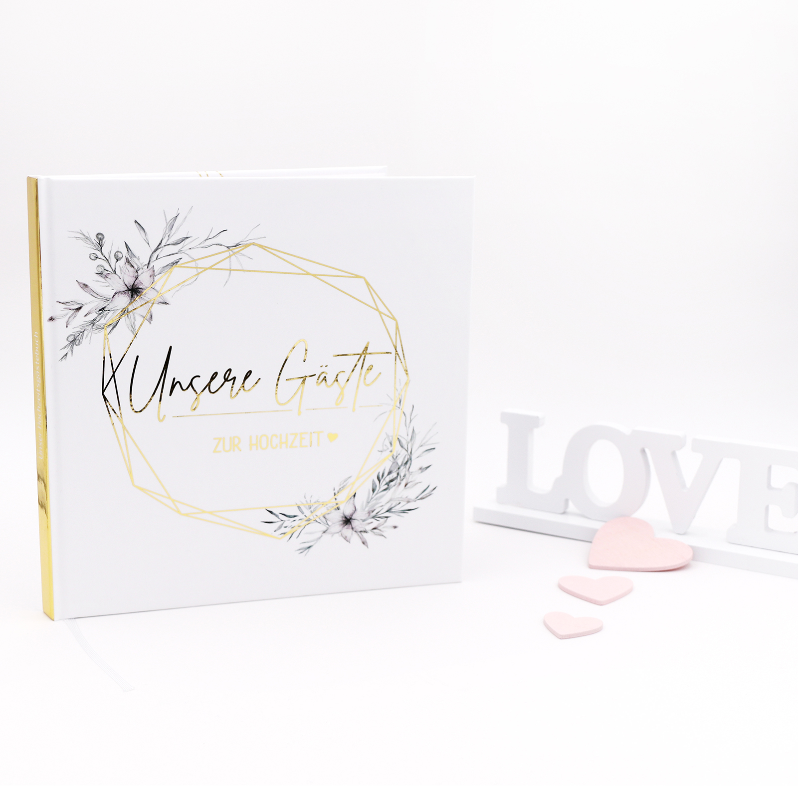 Gästebuch Hochzeit mit Fragen >Grazile mit Herz< - Gold Heissfolie - Hardcover + Fadenheftung - 120